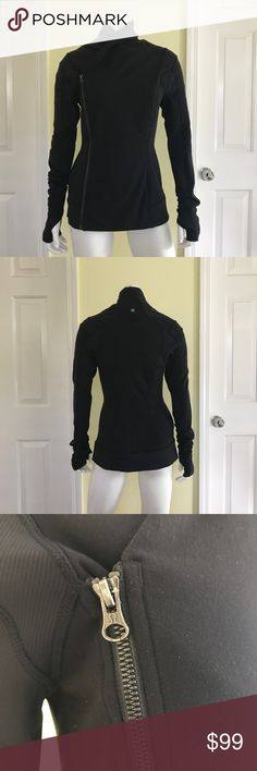 Lululemon Bhakti Jacket In black color. Size 6. Excellent used condition. Styled like a double breasted jacket/ coat, features thumb holes. Little to no wear. lululemon athletica Jackets & Coats