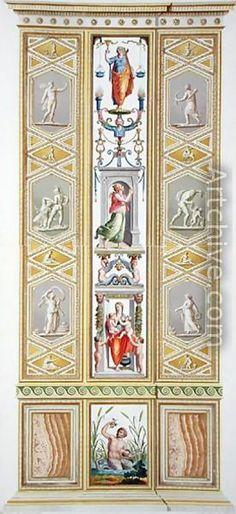 Raphael Pilaster 9). Raphael Sanzio d'Urbino (1483-1520) (after) Ludovico Teseo (intermediate draftsman) Giovanni Volpato (1740-1803) (engraver) Frescoed Pilasters from Loggia di Rafaele nel Vaticano [Loggia of Raphael in the Vatican] _BM