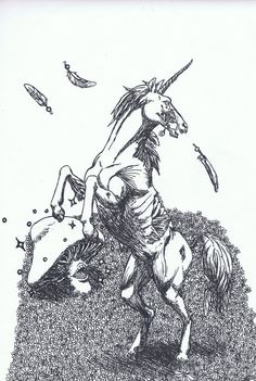 Evil Zombie Unicorns Zombie unicorn by Candy Gore, Unicorn Tattoos, Pegasus, Unicorns, Scary, Dreams, Unicorn
