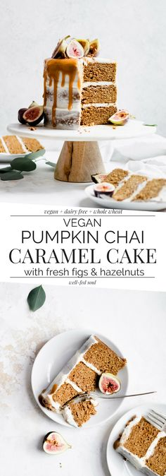 Vegan Chai Spiced Pumpkin Layer Cake + Figs & Caramel | Well Fed Soul