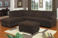 Modern Reversible Chocolate Microfiber Fabric Sectional Sofa with Ottoman Set Sectional Sofa With Recliner, Sectional Furniture, Sofa Couch, Couch Set, Living Room Furniture, Fabric Sectional, Dream Furniture, Modern Sectional, Furniture Dolly