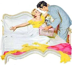 """Breakfast in bed? What a treat! Thank you dear!"""