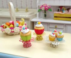 Dollhouse Miniature Cupcakes Display Stand Easter Egg by BEADSPAGE