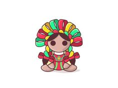 Indita- Traditional mexican toy by YoSoyUnColor Mexican Party, Mexican Style, Mexico Tattoo, Doll Tattoo, Mexico Art, Little Doodles, Baby Footprints, Mexican Designs, Christmas Drawing