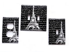 Double Light Switch Cover / Eiffel Tower by LilysNurseryShop, $8.25