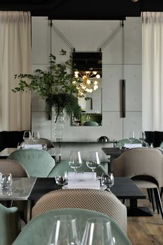 """""""PALANCO"""" mirror, design Ronan and Erwan Bouroullec, at the restaurant La Foret Noire in Lyon. September 2016 A project of Claude Cartier Decoration - Lyon"""