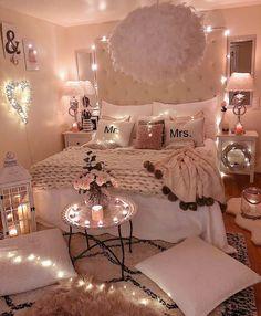 15 Inspiring Romantic Room Decor For Surprise Your Lover's surprise romantic lover inspiring decor Girl Bedroom Designs, Room Ideas Bedroom, Bedroom Decor, Design Bedroom, Bedroom Furniture, Teen Room Designs, Bedding Decor, Wall Decor, Bedroom Lighting