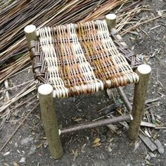 Rustic stools can be made to any height Rustic Stools, Rustic Chair, Twig Furniture, Outdoor Furniture, Living Willow Fence, Willow Dome, Willow Weaving, Charcoal Bbq, Bent Wood