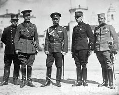 Russian Emperor Nicholas II (C) among the representatives of allied nations. World War I 1914-1918.