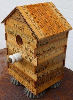 Yardstick Birdhouse Vintage Yardsticks Bird by JunkWhisperers Ruler Crafts, Wood Crafts, Bird House Feeder, Bird Feeders, Bird Houses Diy, Wood Houses, Fairy Houses, Bird House Kits, Bird Aviary