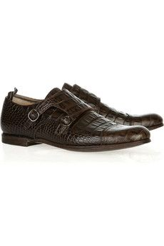 Church's | Edith crocodile-effect leather monk-strap shoes | NET-A-PORTER.COM - StyleSays