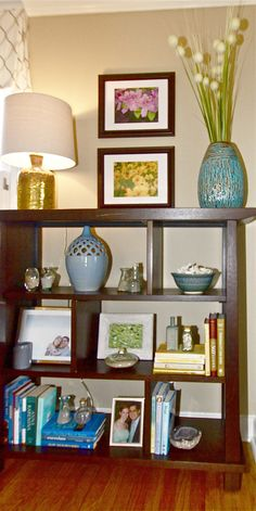 styling the bookshelves...add your favorite collections to personalize it