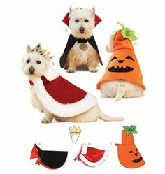 Pet Costume Patterns....wonder what my peach would think of these!
