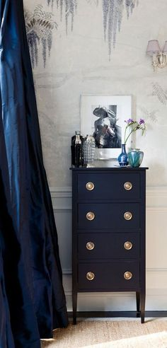 Nautical Navy - Design Chic. Gorgeous style. Love this display styling on a lingerie chest