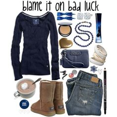ugg outfit, minus all the bs. Just the shoes, shirt, purse and jeans