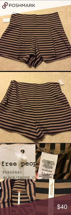 NEW Free People pleated striped soft shorts S Free people striped shorts High-waisted shorts feature allover stripes. Fabricated from a stretch ponte knit. Zip closure at side. Pleated detailing for a flattering fit. 64% polyester, 33% rayon, 3% spandex. Free People Shorts