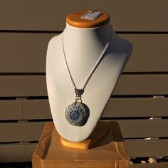 Mandala wire cut double sided  necklace with mother of pearl lustre by simonesceramics on Etsy