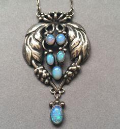 Gallery 925 - Georg Jensen Opal Pendant Necklace No. 5, Handmade Sterling Silver