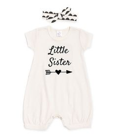 $22.99 marked down from $32.95! Ivory 'Little Sister' Bubble Romper & Headband - Infant #baby #littlesister #zulilyfinds