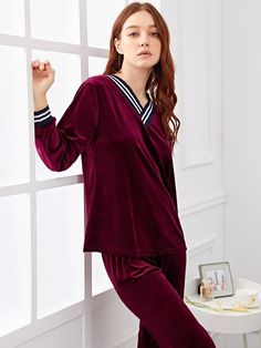 ad Contrast Stripe Side Velvet Pajama Set. Price   22.00. Burgundy Casual Long  Sleeve Striped Pajama Sets Fall Loungewear. Sleeve Length   Long Sleeve 3b114138e