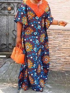 82d0e10d3d44 Half Sleeve Patchwork Travel Look Womens Maxi Dress