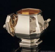 Henin Freres Sterling Silver Tea Set - The amazing sugar bowl (OPEN), vermeil interior, measures roughly 16 cm. high covered, 16 cm. across to the handle tips, and weights 487 grams.