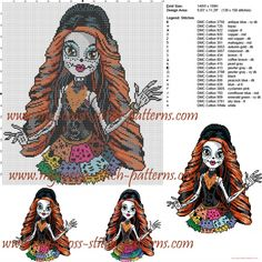 Skelita (Monster High) cross stitch pattern Crochet Monster High, Monster High Crafts, Cross Stitch Charts, Cross Stitch Patterns, Cross Stitching, Cross Stitch Embroidery, Perler Bead Templates, Alpha Patterns, Bead Loom Patterns