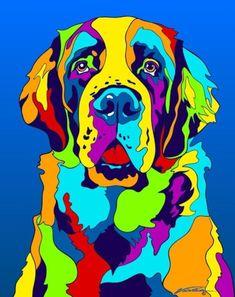 Multi-Color St. Bernard Dog Breed Matted Prints & Canvas Giclées #DogDrawing #DogIllustration