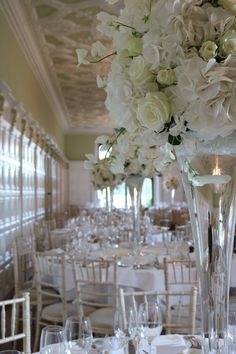 billowing clouds of hydrangea and roses Centrepieces, Table Centerpieces, Table Decorations, Bury St Edmunds, Tudor Rose, Gender Neutral Baby Shower, Tall Vases, Hydrangea, Roses