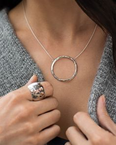Duomo Necklace | Jewelry by Silpada Designs Round out any outfit with the simple circle design of this versatile, hammered Sterling Silver Necklace.