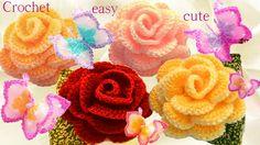 Aprende como tejer a Crochet Mariposas flores rosas 3D en una tira con h...