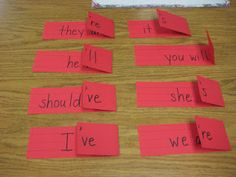 contractions on word strips