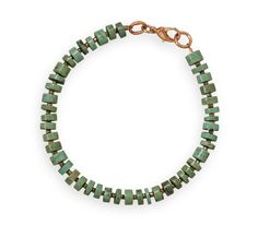 "8"" Magnesite and Glass Bead Copper Men's Bracelet"