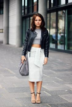 Pair a cropped sweater with a midi skirt to keep covered on the bottom ...