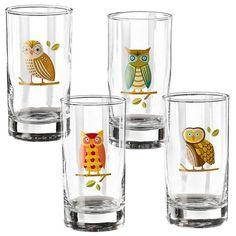 Owl Glasses - Set of 4  #owl