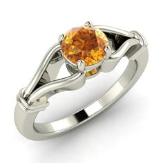 .35 Ct Natural Citrine November Birthstone Solitaire Ring in 14 Carat White Gold…