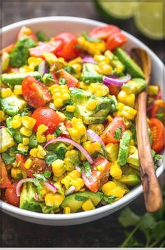 Party Summer Salads To Amaze Your Guests Corn Tomato Avocado Salad Save Print. Party Summer Salads To Amaze Your Guests Corn Tomato Avocado Salad Save Print Prep time 10 mins Corn Salad Recipe Easy, Corn Salad Recipes, Summer Salad Recipes, Corn Salads, Avocado Recipes, Christmas Salad Recipes, Fruit Salads, Easy Salads, Fresh Corn Salad