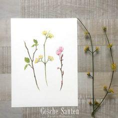 Frühlingszweige in Aquarel- Schritt für Schritt : Haselnuss, Kornelkirsche, Pflaumenblüte