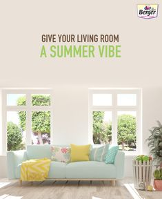 Use some pastel toned furniture with bold accent cushions and throw. Pops of pastel and bright hues create an ideal cost-saving living room for a perfect summer house.
