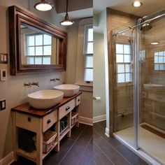Melissa G. of New Orleans bath after remodel with double vanity custom made of cypress, top picks for bath remodels from reader remodel contest 2014