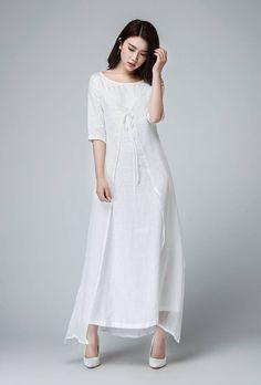 Weißen Maxi-Kleid Damen Kleider lange Leinenkleid von xiaolizi