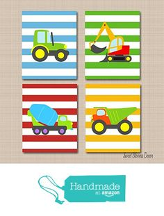Construction Wall Art,Trucks Kids Wall Art,Transportation Nursery Wall Art,Boy Nursery Wall Art, Trucks Playroom Art,Tractor Dump Truck Excavator- UNFRAMED Set of 4 PRINTS (NOT CANVAS)C114 from Sweet Blooms Decor https://www.amazon.com/dp/B017Y4QW4C/ref=hnd_sw_r_pi_awdo_xnvhzbE4A5TD7 #handmadeatamazon
