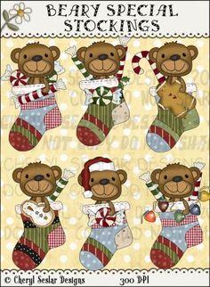 Beary Special Stockings 1 - Clip Art by Cheryl Seslar