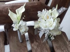 White Silver Corsages for Prom | pc. White and Silver Real Touch Silk Wrist Corsage and Boutonniere ...
