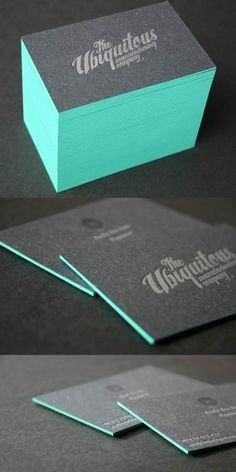 Very distinguished looking business cards. Edge painted letterpress technique. #print #inspiration #paper