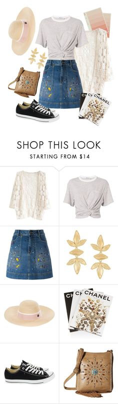 """Untitled #51"" by kamagaem ❤ liked on Polyvore featuring T By Alexander Wang, Alice + Olivia, Gas Bijoux, Maison Michel, Assouline Publishing, Converse and M&F Western"