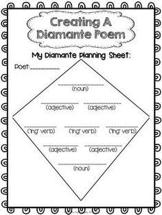 POETRY WRITING FREEBIE {DIAMANTE POETRY} - TeachersPayTeachers.com