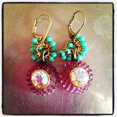 Vintage and button crystal earrings. $25 D. Wallace Designs