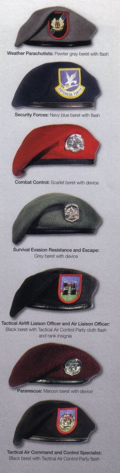 United States Air Force Berets: CCT/STO – Scarlet PJ/CRO – Maroon TACP/ALO – Black Weather Parachutists – Grey Security Force – Blue SERE Specialists – Sage Green..... Blackenwolf.com