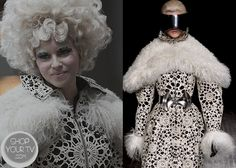 Shop Your Tv: Catching Fire: Effie's Black and White Print Dress with Fur